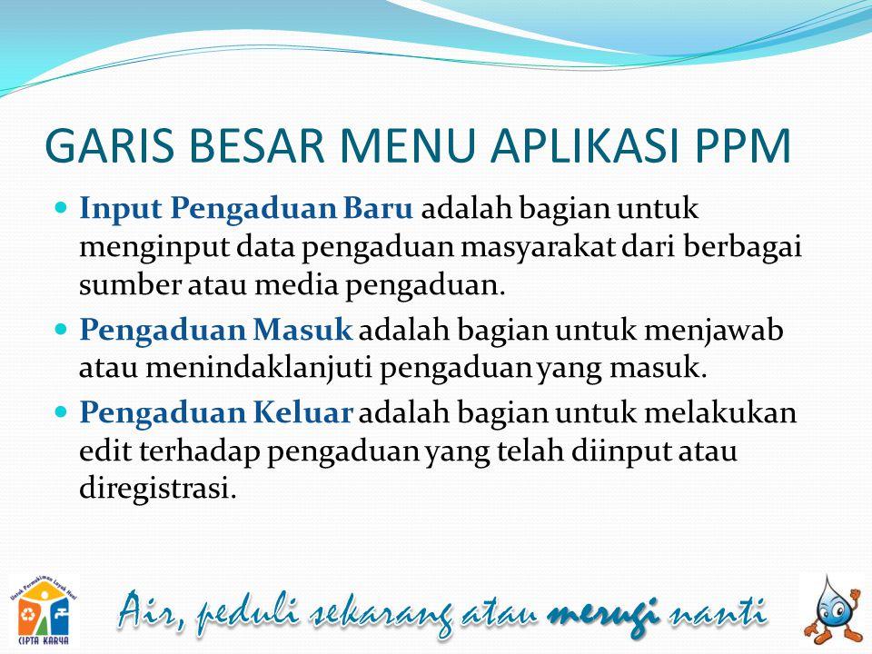 MENU APLIKASI PPM Di dalam aplikasi PPM terdapat 3 menu utama untuk level pengguna PROVINSI dan KABUPATEN/KOTA.