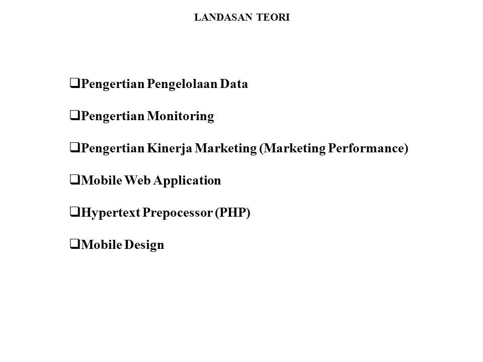 LANDASAN TEORI  Pengertian Pengelolaan Data  Pengertian Monitoring  Pengertian Kinerja Marketing (Marketing Performance)  Mobile Web Application 