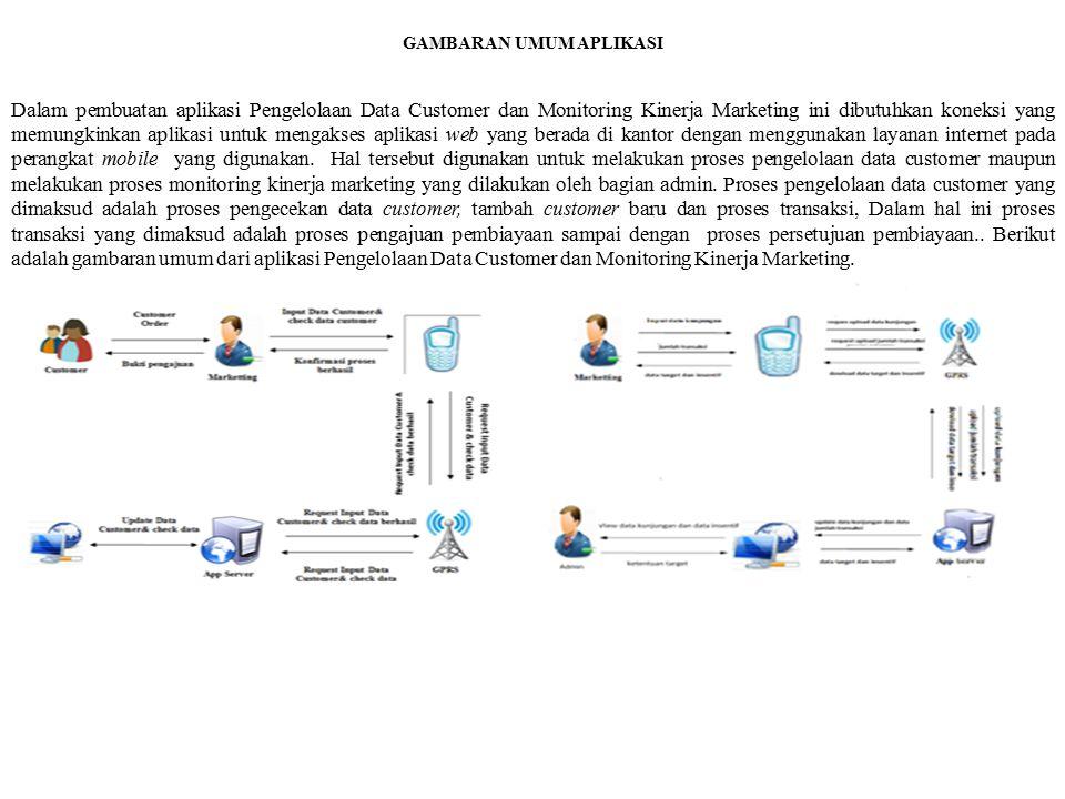 GAMBARAN UMUM APLIKASI Dalam pembuatan aplikasi Pengelolaan Data Customer dan Monitoring Kinerja Marketing ini dibutuhkan koneksi yang memungkinkan ap