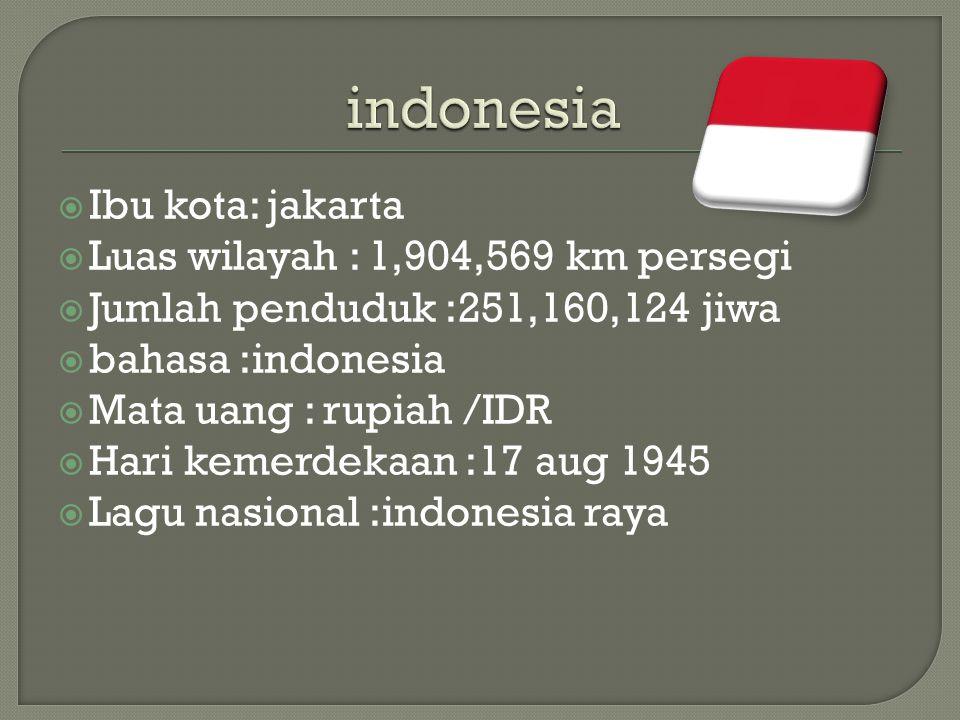  Ibu kota: jakarta  Luas wilayah : 1,904,569 km persegi  Jumlah penduduk :251,160,124 jiwa  bahasa :indonesia  Mata uang : rupiah /IDR  Hari kemerdekaan :17 aug 1945  Lagu nasional :indonesia raya