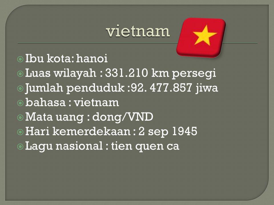 Ibu kota: hanoi  Luas wilayah : 331.210 km persegi  Jumlah penduduk :92.