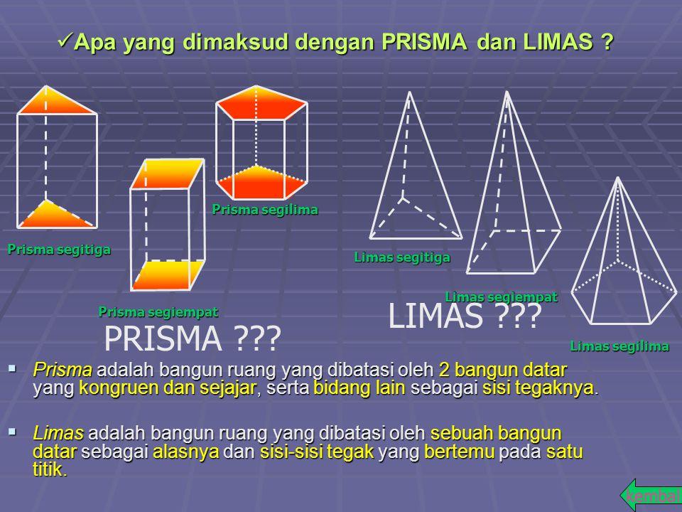  Prisma adalah bangun ruang yang dibatasi oleh 2 bangun datar yang kongruen dan sejajar, serta bidang lain sebagai sisi tegaknya.