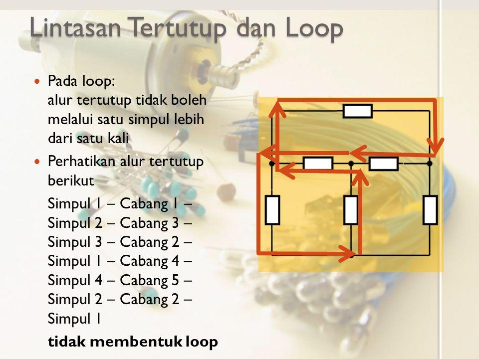 Lintasan Tertutup dan Loop Pada loop: alur tertutup tidak boleh melalui satu simpul lebih dari satu kali Perhatikan alur tertutup berikut Simpul 1 – C