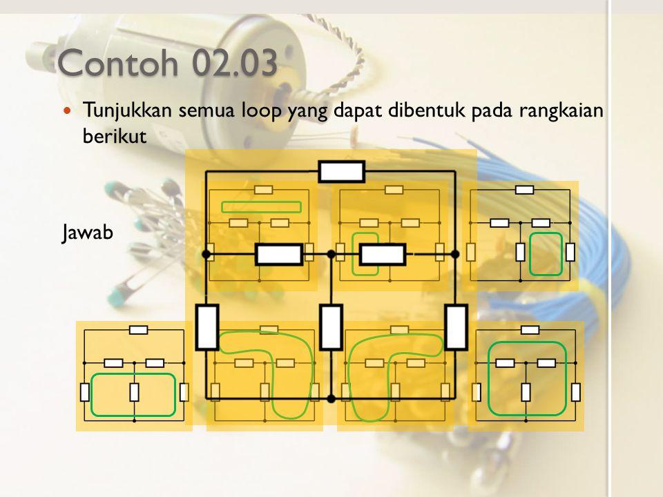 Contoh 02.03 Tunjukkan semua loop yang dapat dibentuk pada rangkaian berikut Jawab