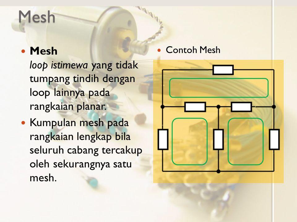 Mesh Mesh loop istimewa yang tidak tumpang tindih dengan loop lainnya pada rangkaian planar. Kumpulan mesh pada rangkaian lengkap bila seluruh cabang