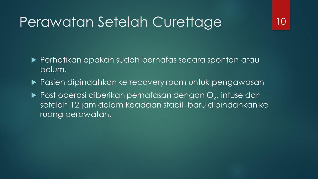 Perawatan Setelah Curettage  Perhatikan apakah sudah bernafas secara spontan atau belum.  Pasien dipindahkan ke recovery room untuk pengawasan  Pos