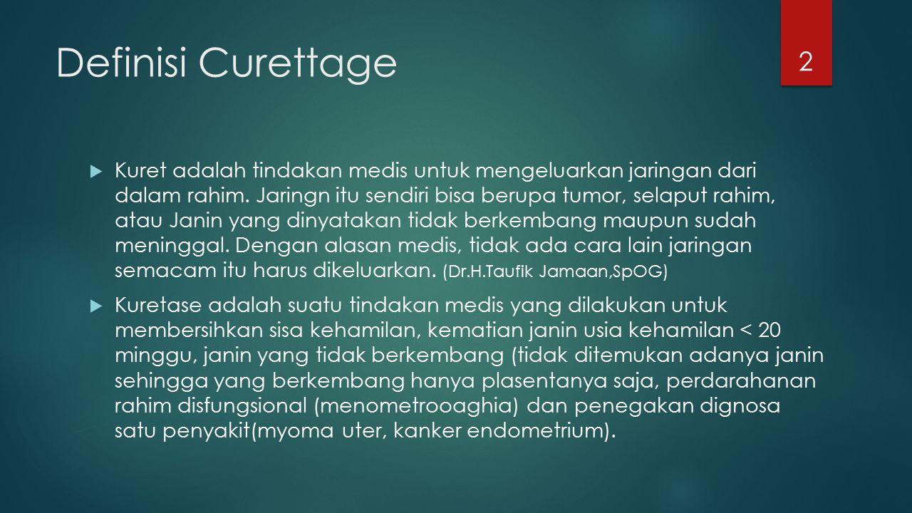 Definisi Curettage  Kuret adalah tindakan medis untuk mengeluarkan jaringan dari dalam rahim. Jaringn itu sendiri bisa berupa tumor, selaput rahim, a