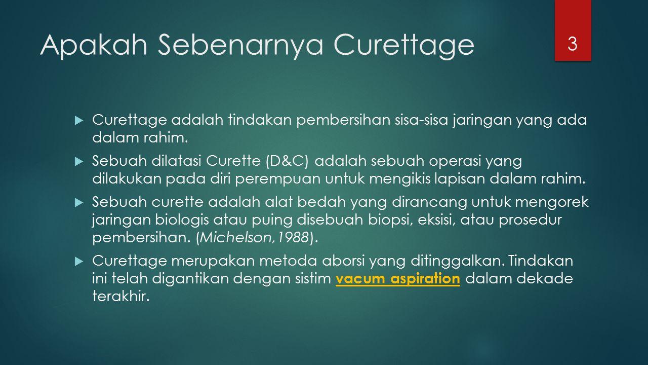 Apakah Sebenarnya Curettage  Curettage adalah tindakan pembersihan sisa-sisa jaringan yang ada dalam rahim.  Sebuah dilatasi Curette (D&C) adalah se