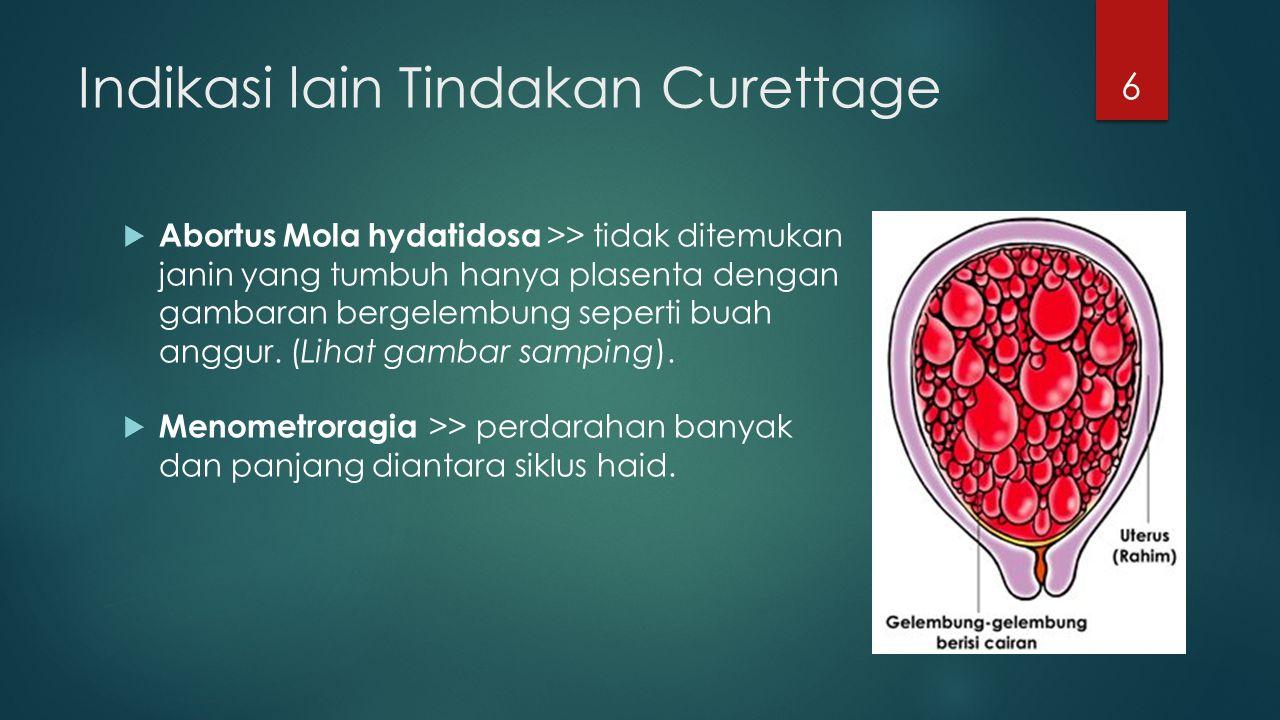 Indikasi lain Tindakan Curettage  Abortus Mola hydatidosa >> tidak ditemukan janin yang tumbuh hanya plasenta dengan gambaran bergelembung seperti bu