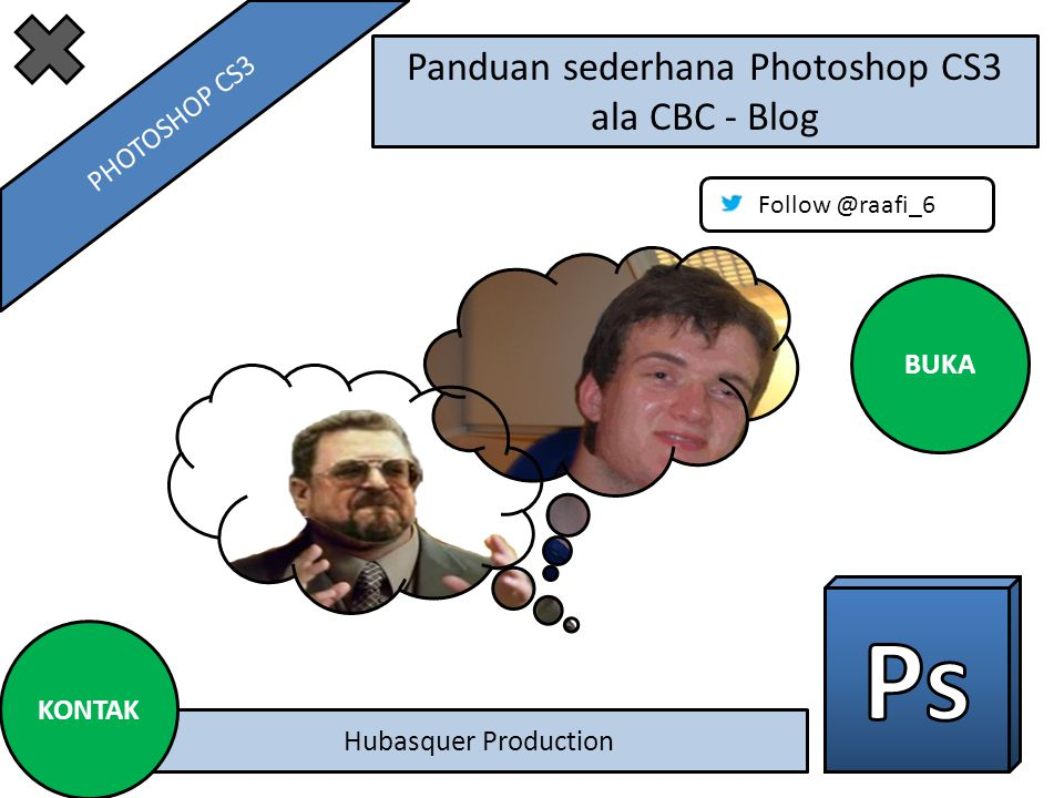 Panduan sederhana Photoshop CS3 ala CBC - Blog Hubasquer Production Follow @raafi_6 BUKA KONTAK PHOTOSHOP CS3