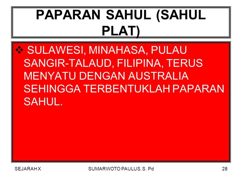SEJARAH XSUMARWOTO PAULUS, S. Pd27 PAPARAN SUNDA (SUNDA PLAT)  SUMATRA, JAWA, KALIMANTAN, MALAYSIA BARAT DAN DARATAN ASIA BERGABUNG MENJADI SATU SEHI