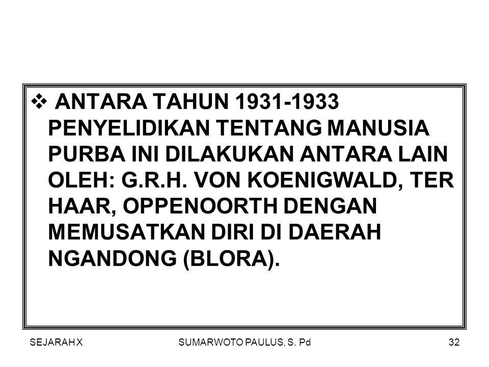 SEJARAH XSUMARWOTO PAULUS, S. Pd31  DI AWALI OLEH B.D. VON REITSCHOTEN TH. 1889 KETIKA MENEMUKAN SEBUAH TENGKORAK DI WAJAK, TULUNG AGUNG.  PENEMUAN