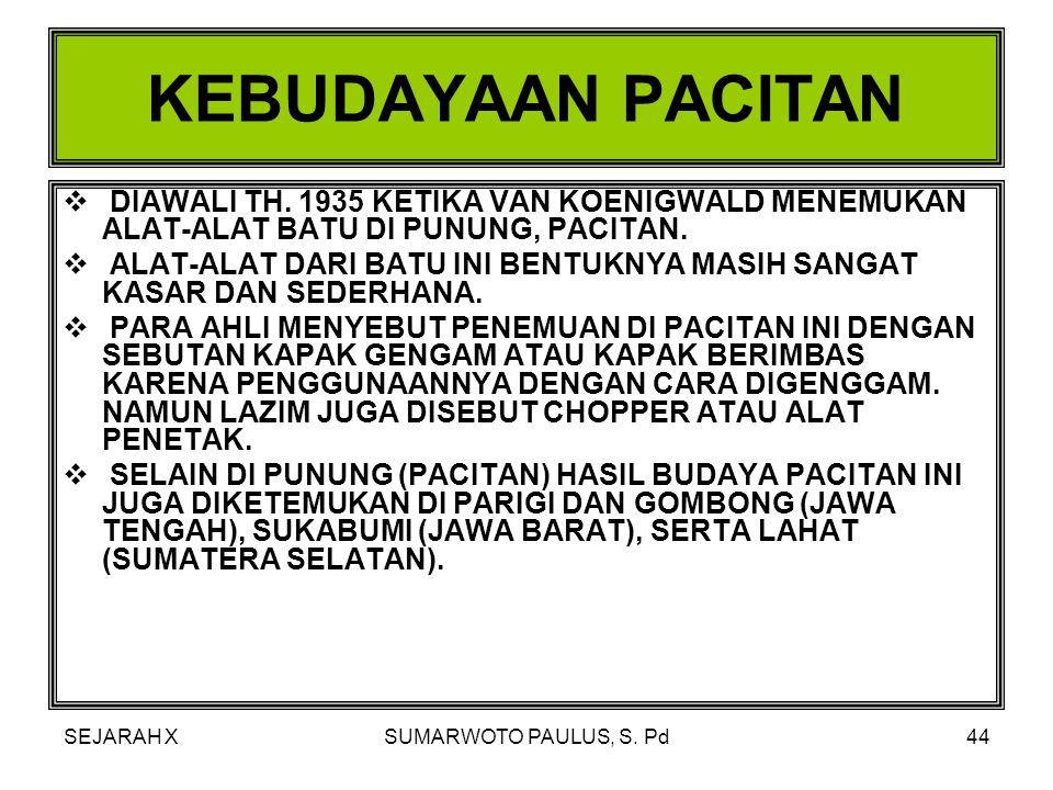 SEJARAH XSUMARWOTO PAULUS, S. Pd43 ZAMAN PALEOLITIKUM (KEBUDAYAAN BATU TUA) KEBUDAYAAN PACITAN KEBUDAYAAN NGANDONG