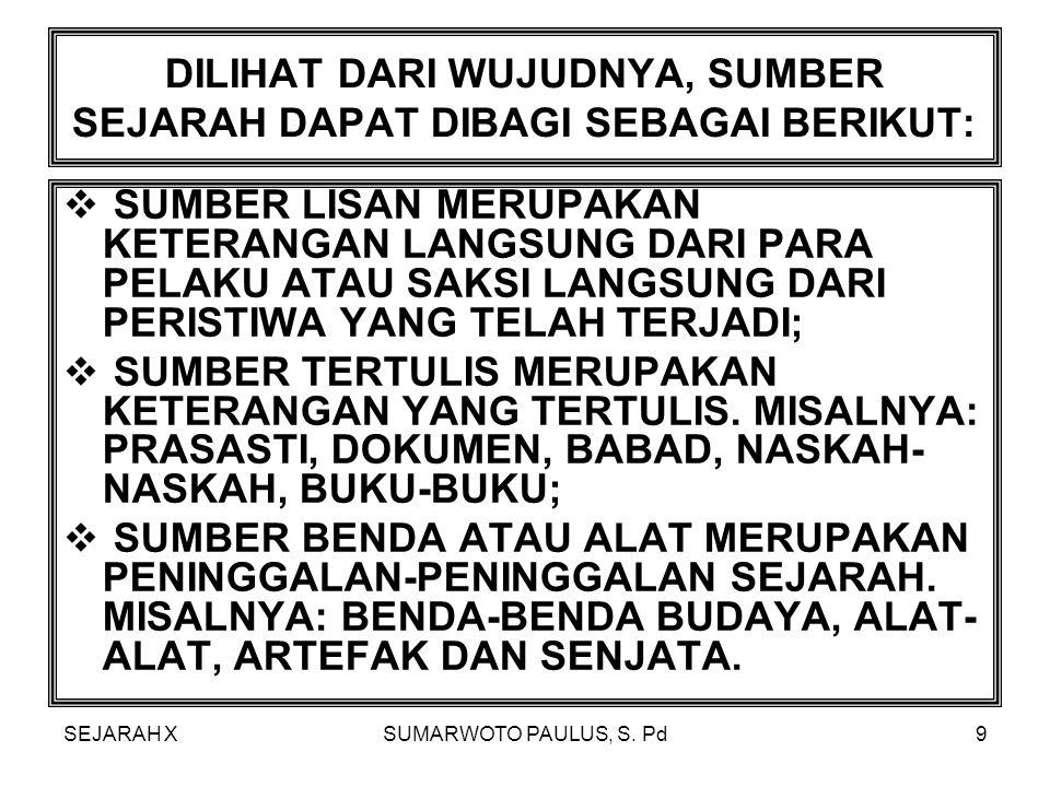 SEJARAH XSUMARWOTO PAULUS, S. Pd99 DINAMISME KEYAKINAN BAHWA DISETIAP BENDA MEMILIKI KEKUATAN GAIB.