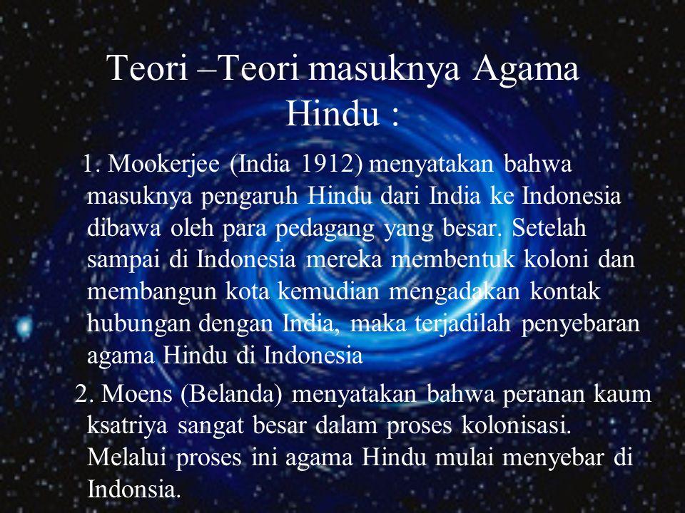 Teori –Teori masuknya Agama Hindu : 1.