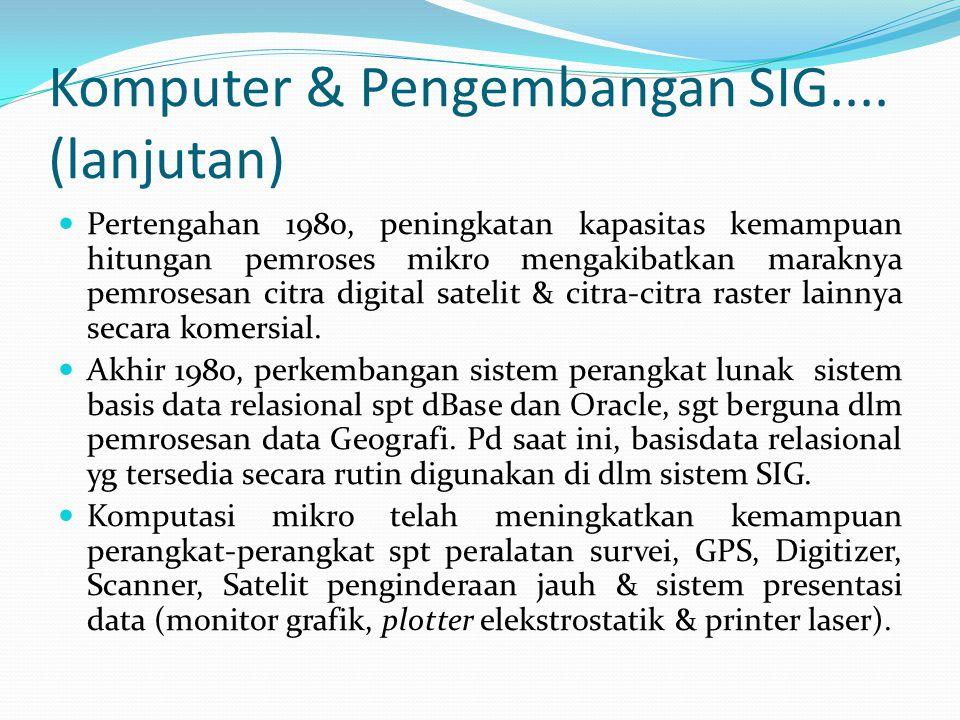 Komputer & Pengembangan SIG.... (lanjutan) Pertengahan 1980, peningkatan kapasitas kemampuan hitungan pemroses mikro mengakibatkan maraknya pemrosesan