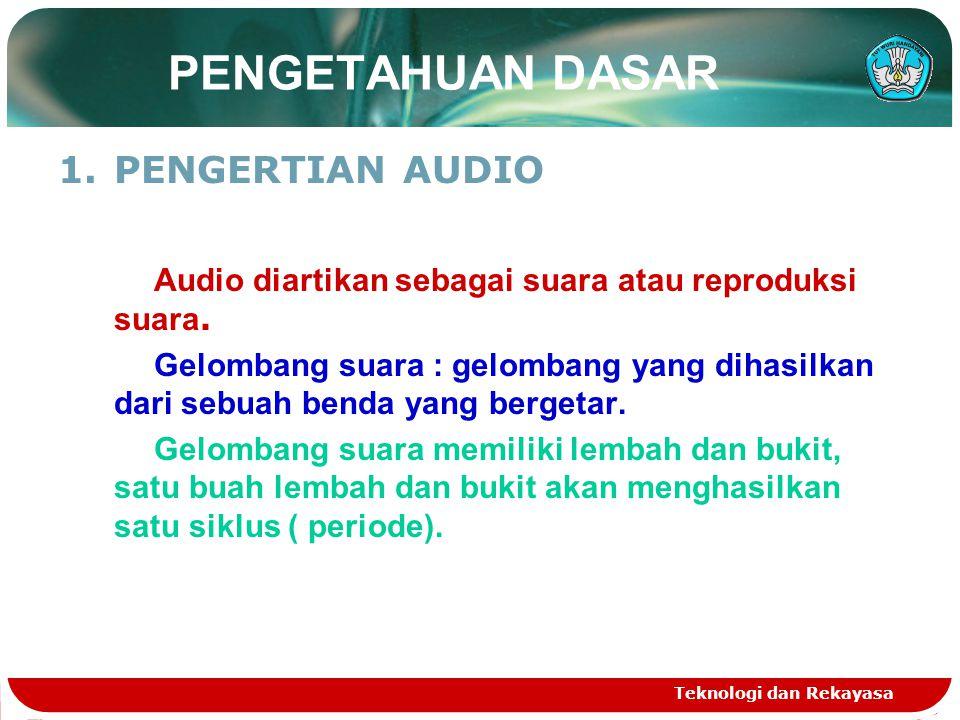 Teknologi dan Rekayasa PENGETAHUAN DASAR 1.PENGERTIAN AUDIO Audio diartikan sebagai suara atau reproduksi suara. Gelombang suara : gelombang yang diha