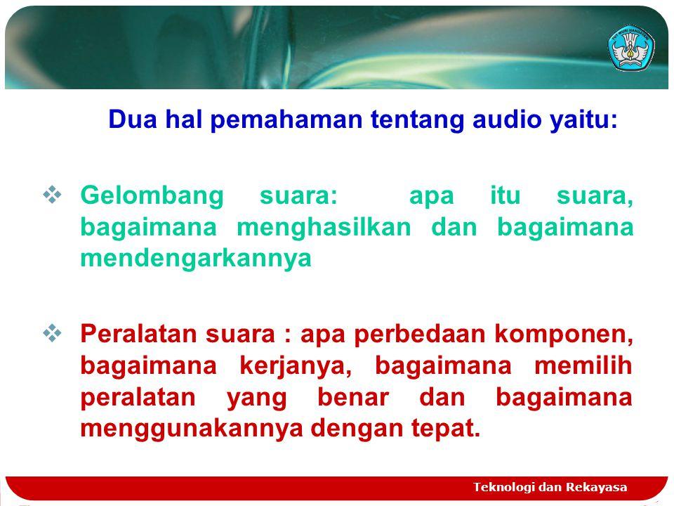 Teknologi dan Rekayasa Dua hal pemahaman tentang audio yaitu:  Gelombang suara: apa itu suara, bagaimana menghasilkan dan bagaimana mendengarkannya 