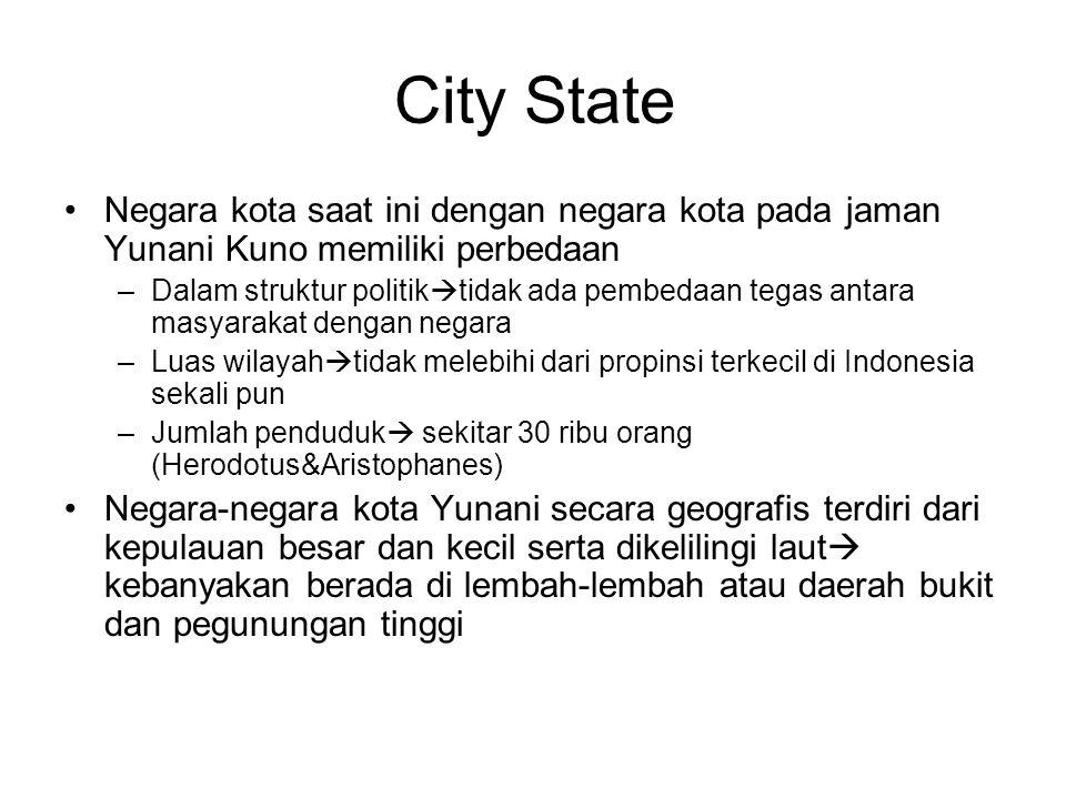 City State Negara kota saat ini dengan negara kota pada jaman Yunani Kuno memiliki perbedaan –Dalam struktur politik  tidak ada pembedaan tegas antar
