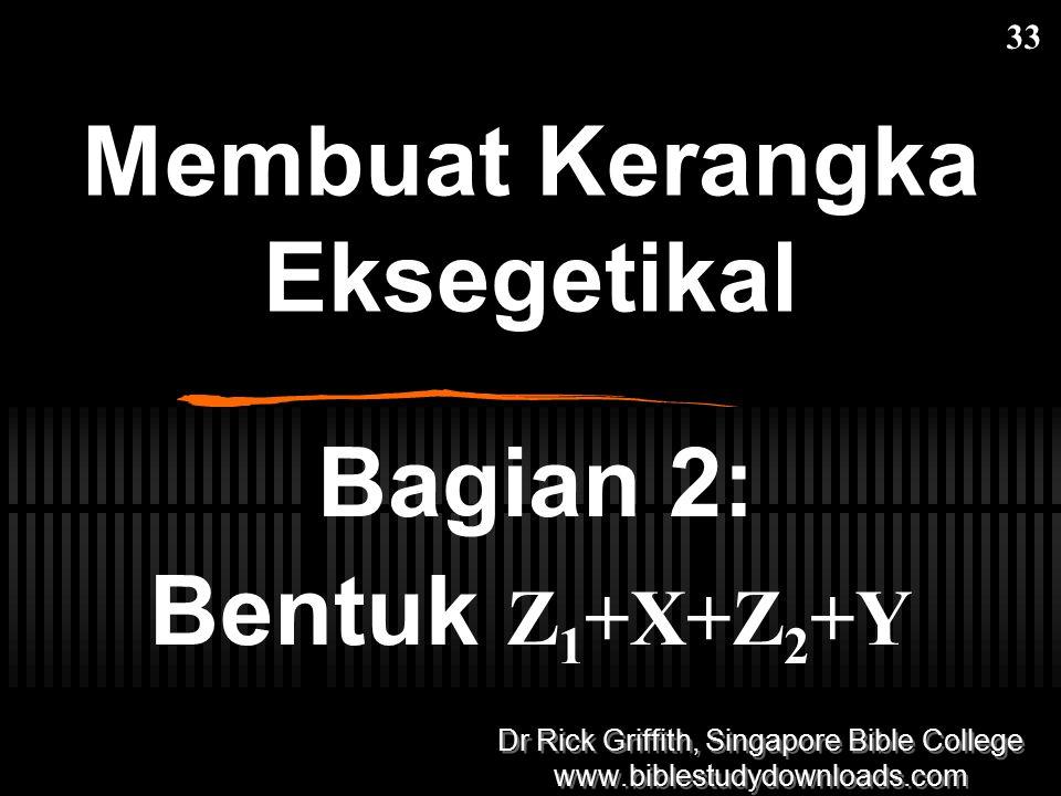 Membuat Kerangka Eksegetikal Bagian 2: Bentuk Z 1 +X+Z 2 +Y 33 Dr Rick Griffith, Singapore Bible College www.biblestudydownloads.com Dr Rick Griffith,