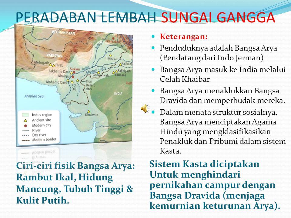 Sistem Kepercayaan Peradaban Sungai Gangga Selain berpedoman kepada 4 Kitab Weda, mereka juga mengambil pengajaran dari Epos/Wiracarita Mahabarata dan Ramayana Setelah Ashoka menjadi raja, ia mengubah Agama Buddha menjadi Agama Kerajaan.