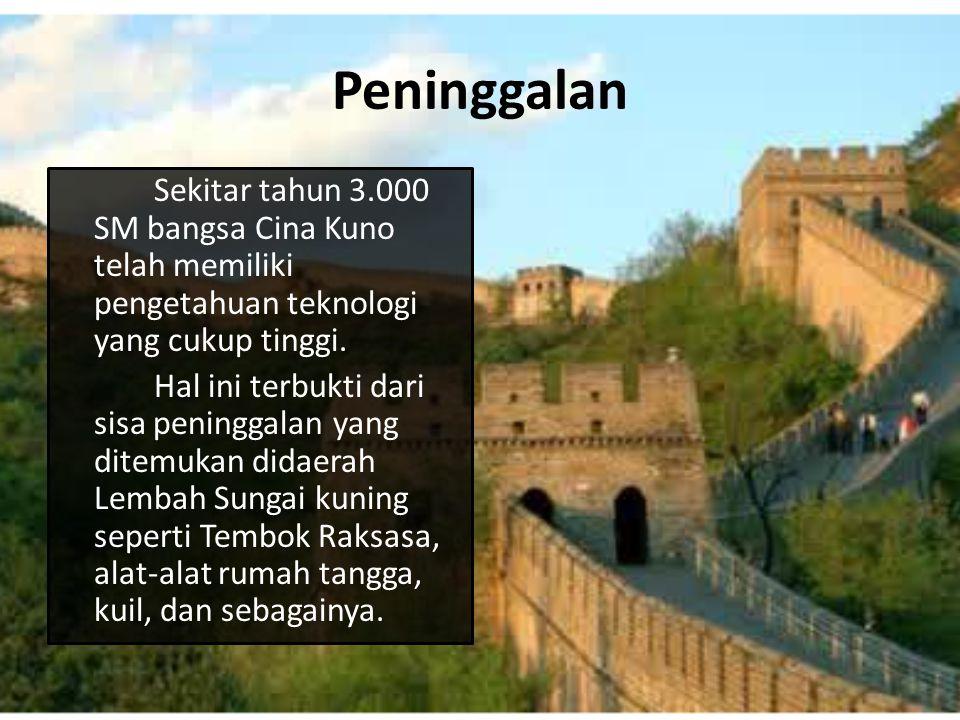 Peninggalan Sekitar tahun 3.000 SM bangsa Cina Kuno telah memiliki pengetahuan teknologi yang cukup tinggi.