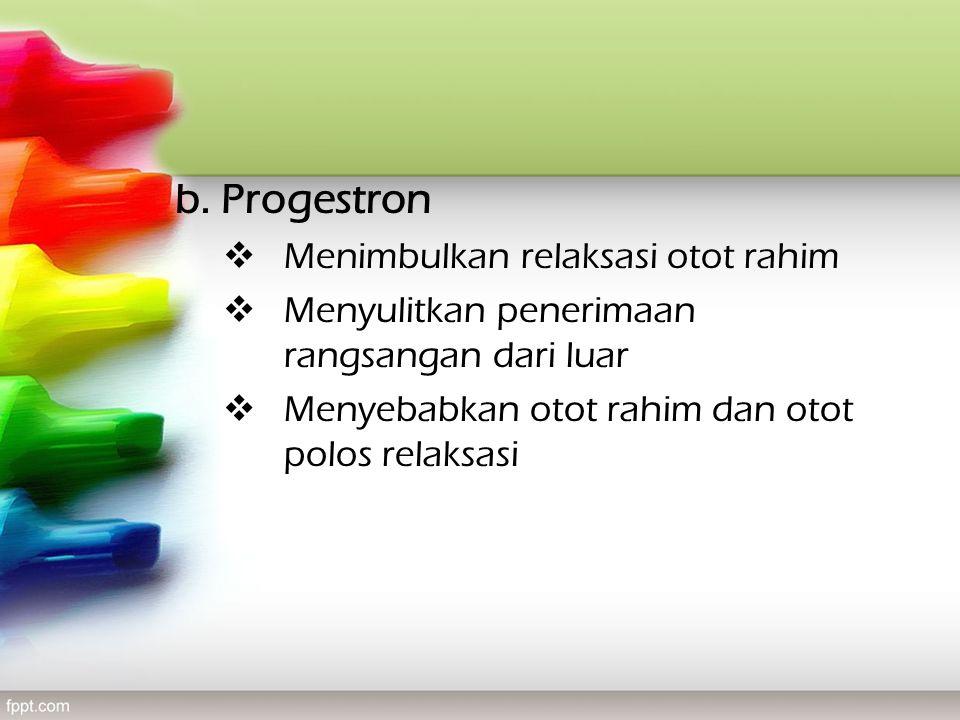 b. Progestron  Menimbulkan relaksasi otot rahim  Menyulitkan penerimaan rangsangan dari luar  Menyebabkan otot rahim dan otot polos relaksasi