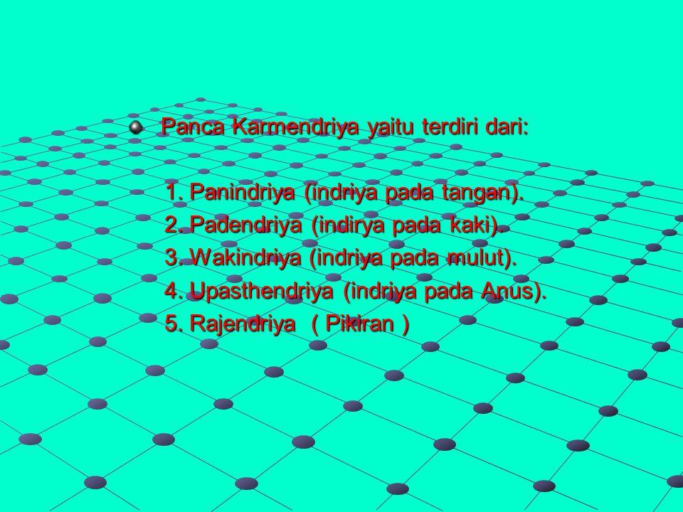 Panca Karmendriya yaitu terdiri dari: 1.Panindriya (indriya pada tangan).