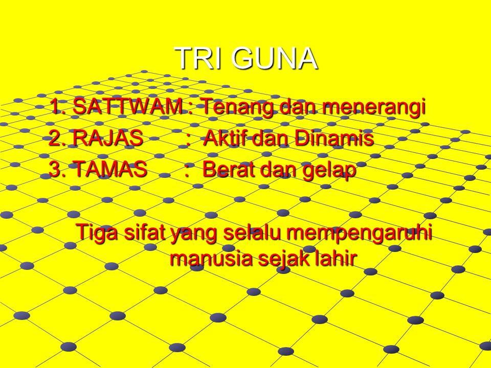 TRI GUNA 1.SATTWAM : Tenang dan menerangi 1. SATTWAM : Tenang dan menerangi 2.