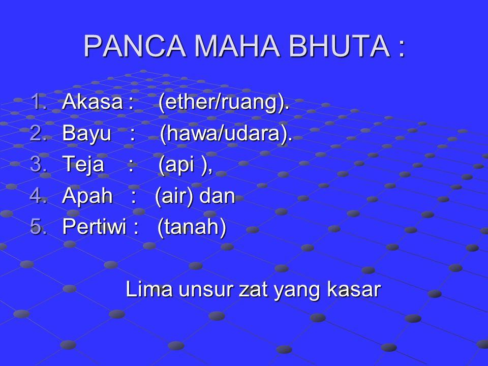 PANCA MAHA BHUTA : 1.Akasa : (ether/ruang).2.Bayu : (hawa/udara).