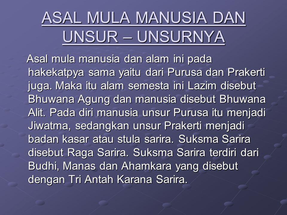 DASENDRYA : Panca Budhindriya yaitu terdiri dari : 1.