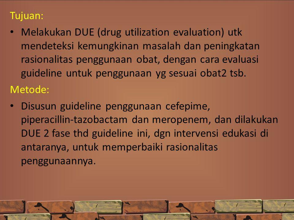Tujuan: Melakukan DUE (drug utilization evaluation) utk mendeteksi kemungkinan masalah dan peningkatan rasionalitas penggunaan obat, dengan cara evalu