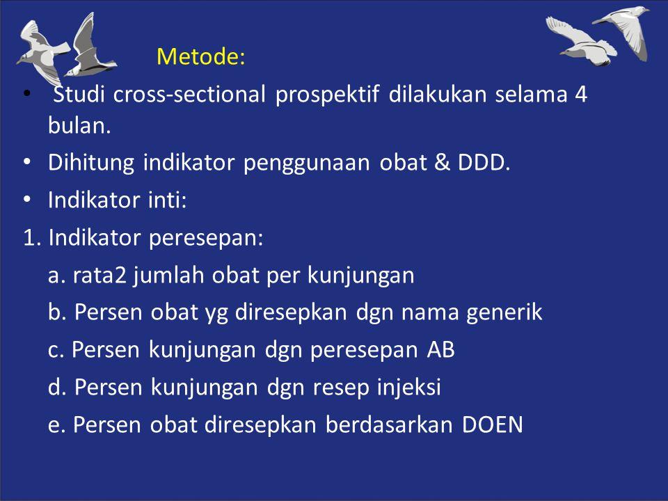 Metode: Studi cross-sectional prospektif dilakukan selama 4 bulan. Dihitung indikator penggunaan obat & DDD. Indikator inti: 1. Indikator peresepan: a