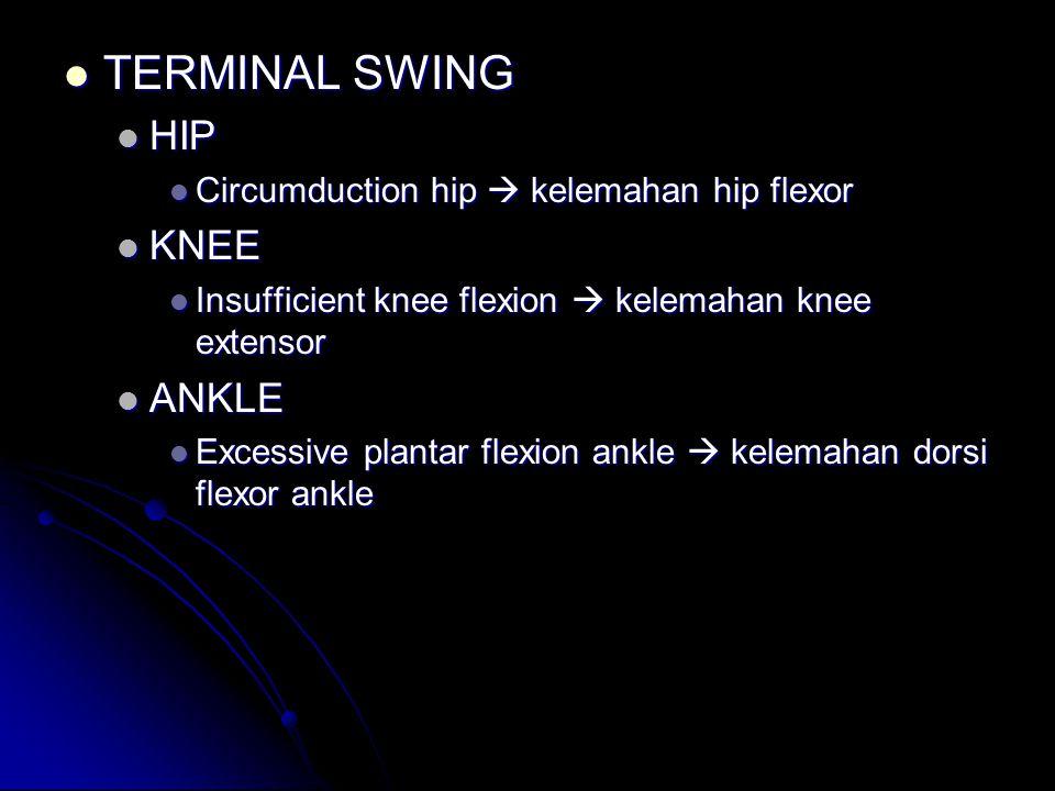 MID SWING MID SWING HIP HIP Excessive hip flexion  kelemahan dorsiflexor ankle dikompensasi hip flexion\ Excessive hip flexion  kelemahan dorsiflexo