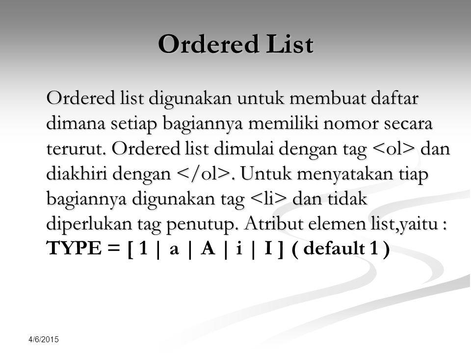 4/6/2015 Contoh <html><head> Ordered List Ordered List <body> <li>Multimedia<li>Database Pemrograman Web Pemrograman Web<li>Ekonomi<li>Hukum</ol></body></html> Created By Ahlihi Masruro, S.Kom