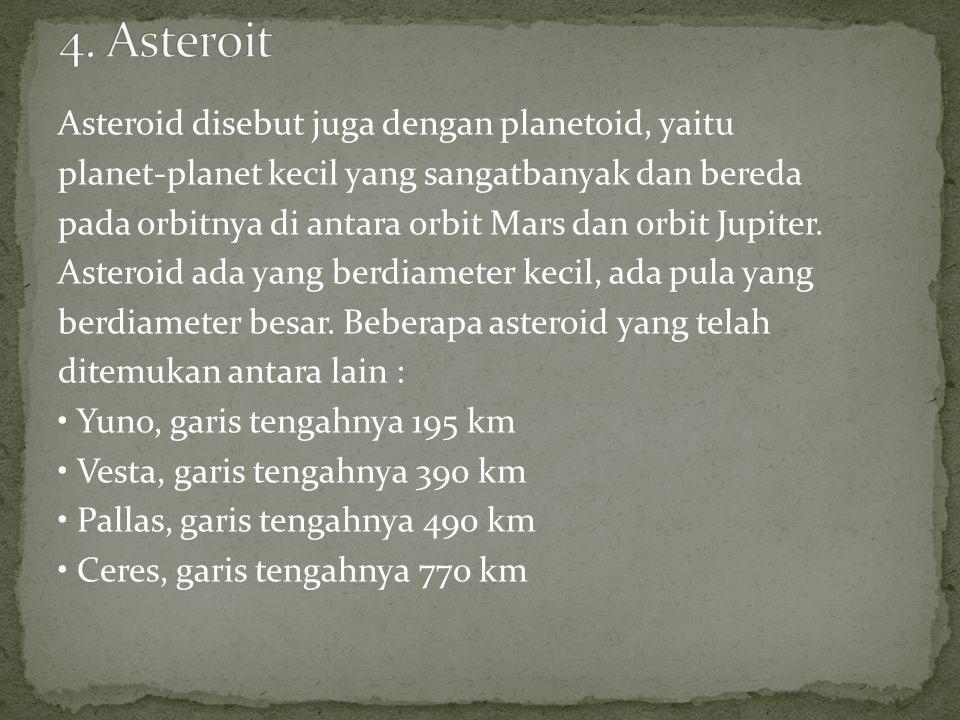 Asteroid disebut juga dengan planetoid, yaitu planet-planet kecil yang sangatbanyak dan bereda pada orbitnya di antara orbit Mars dan orbit Jupiter.