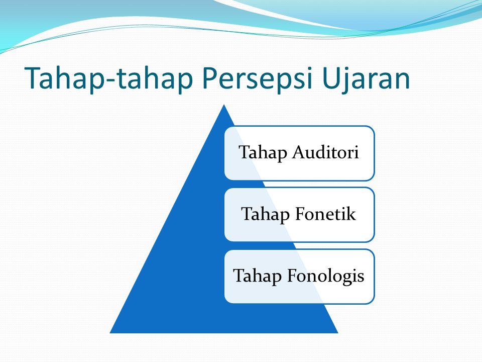 Tahap-tahap Persepsi Ujaran Tahap AuditoriTahap FonetikTahap Fonologis