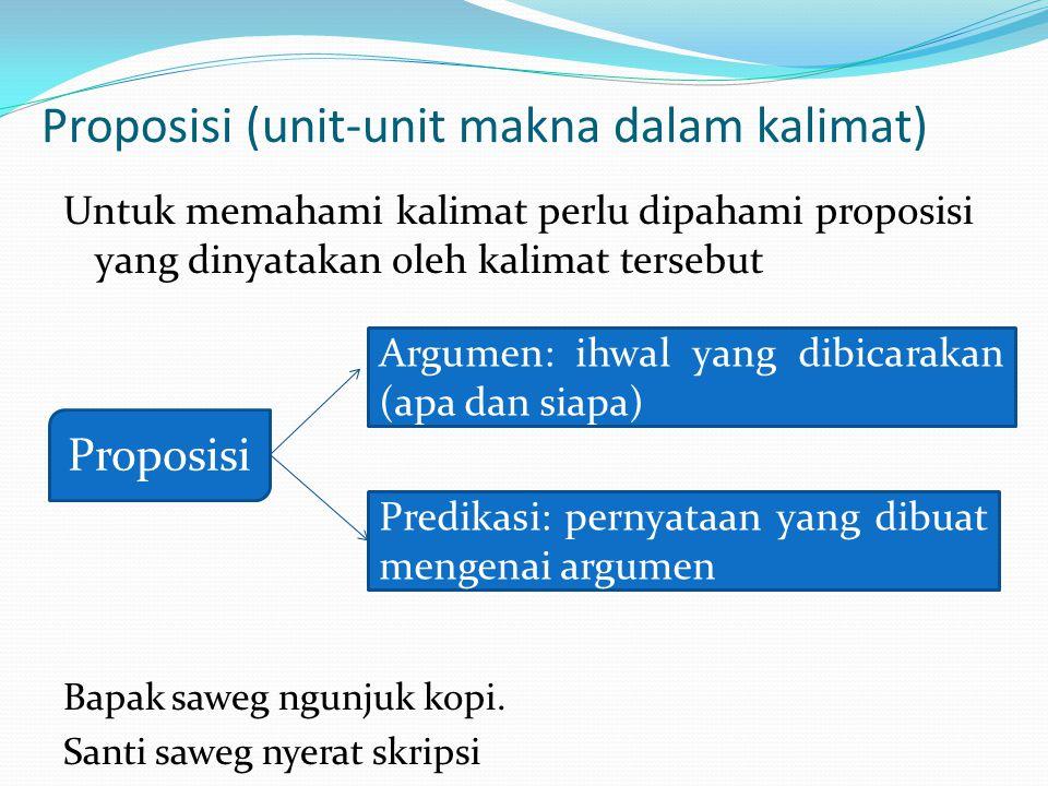 Proposisi (unit-unit makna dalam kalimat) Untuk memahami kalimat perlu dipahami proposisi yang dinyatakan oleh kalimat tersebut Bapak saweg ngunjuk ko