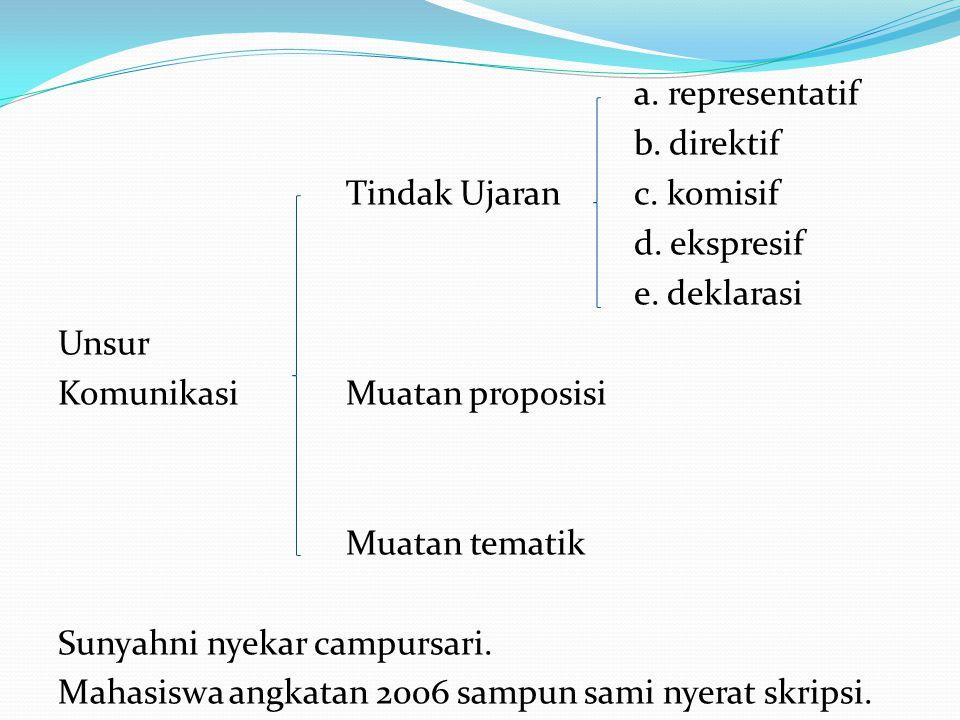 a. representatif b. direktif Tindak Ujaranc. komisif d. ekspresif e. deklarasi Unsur KomunikasiMuatan proposisi Muatan tematik Sunyahni nyekar campurs
