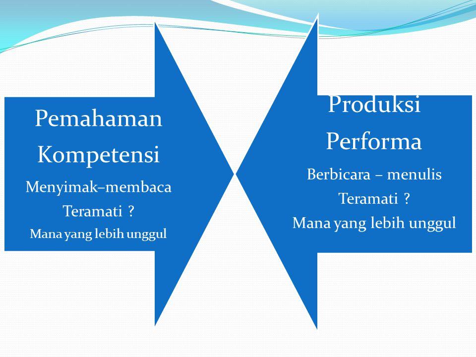 Pemahaman Kompetensi Menyimak–membaca Teramati ? Mana yang lebih unggul Produksi Performa Berbicara – menulis Teramati ? Mana yang lebih unggul
