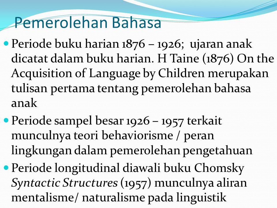 Pemerolehan Bahasa Periode buku harian 1876 – 1926; ujaran anak dicatat dalam buku harian. H Taine (1876) On the Acquisition of Language by Children m