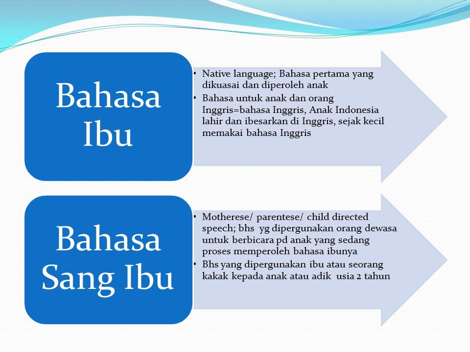 Native language; Bahasa pertama yang dikuasai dan diperoleh anak Bahasa untuk anak dan orang Inggris=bahasa Inggris, Anak Indonesia lahir dan ibesarka