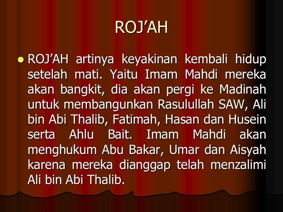 ROJ'AH ROJ'AH artinya keyakinan kembali hidup setelah mati.