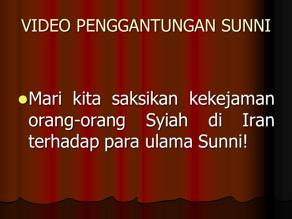 VIDEO PENGGANTUNGAN SUNNI Mari kita saksikan kekejaman orang-orang Syiah di Iran terhadap para ulama Sunni.