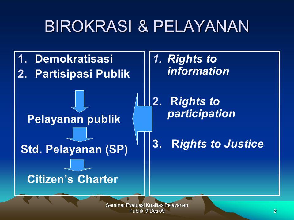 Seminar Evaluasi Kualitas Pelayanan Publik, 9 Des 092 BIROKRASI & PELAYANAN 1.Demokratisasi 2.Partisipasi Publik Pelayanan publik Std. Pelayanan (SP)