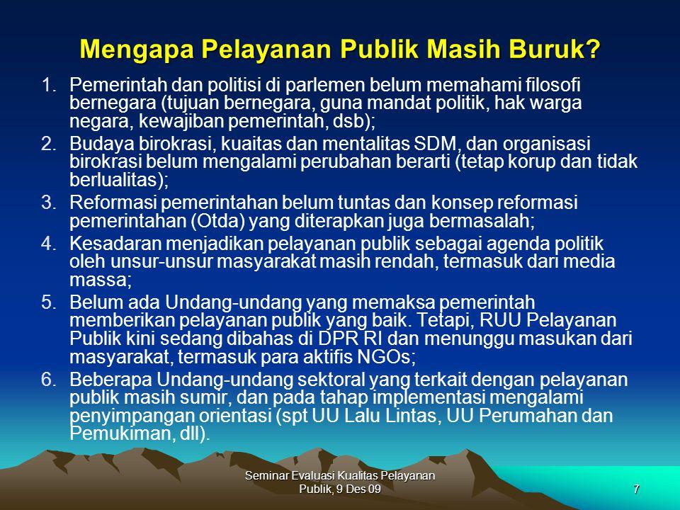 Seminar Evaluasi Kualitas Pelayanan Publik, 9 Des 097 Mengapa Pelayanan Publik Masih Buruk? 1.Pemerintah dan politisi di parlemen belum memahami filos