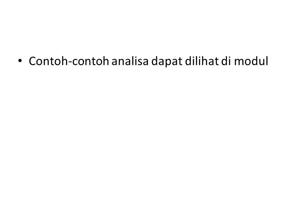 Contoh-contoh analisa dapat dilihat di modul