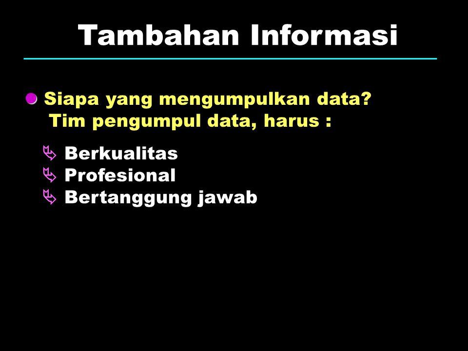 Tambahan Informasi Siapa yang mengumpulkan data? Tim pengumpul data, harus :  Berkualitas  Profesional  Bertanggung jawab