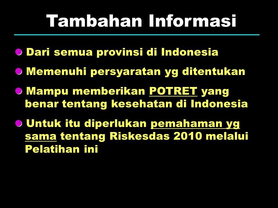 Tambahan Informasi Dari semua provinsi di Indonesia Memenuhi persyaratan yg ditentukan Mampu memberikan POTRET yang benar tentang kesehatan di Indones