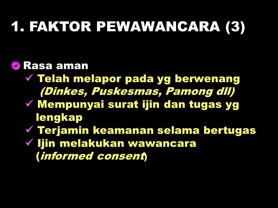 1. FAKTOR PEWAWANCARA (3)   Rasa aman Telah melapor pada yg berwenang (Dinkes, Puskesmas, Pamong dll) Mempunyai surat ijin dan tugas yg lengkap Terj